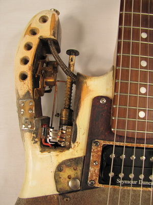 Kamikazecaster guitar right front detail Picture