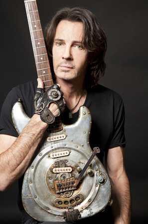 Alumicaster electric guitar with Rick Springfield by Tony Cochran Picture